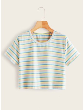Colorful Striped Short Sleeve Tee by Romwe