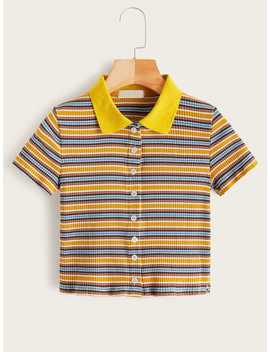 Striped Button Front Ribbed Polo Tee by Romwe