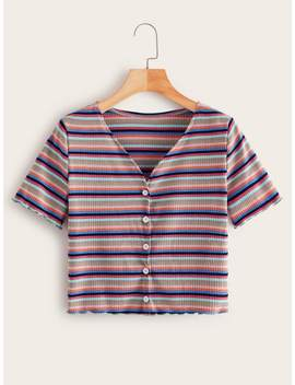 Multi Stripe Button Front V Neck Ribbed Tee by Romwe