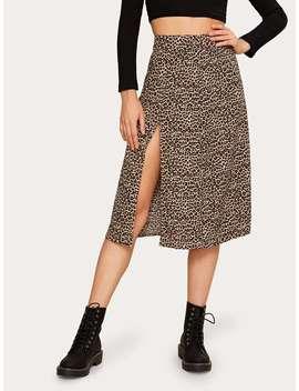 Leopard Print Split Thigh Skirt by Romwe