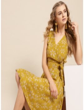 Women Mustard Yellow Printed A Line Dress by Aks Couture