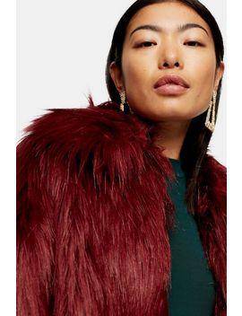 Oxblood Luxe Faux Fur Coat by Topshop
