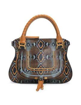 Medium Marcie Python Embossed Leather Satchel by Chloé
