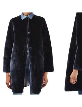 🐻Looking For: Topshop Bonded Faux Fur Coat Navy Blue by Depop