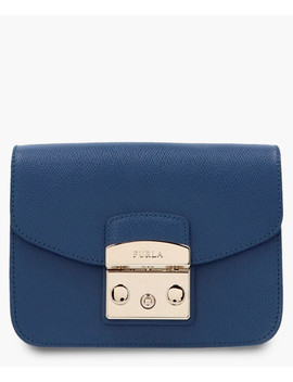 Metropolis Blue Leather Mini Crossbody by Furla
