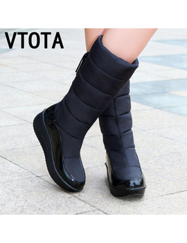 Vtota Snow Boots Women Winter Warm Platform Fur Fringe Shoes Wedges Heels Knee High Boots Women Leather Boots Bota Women Shoes by Ali Express.Com