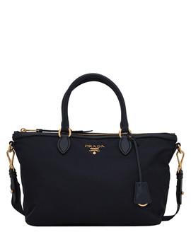 Tessuto Black Leather Trim Bag by Prada