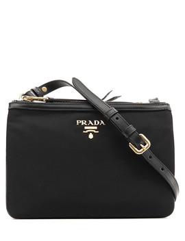 Black Textured Leather Crossbody by Prada