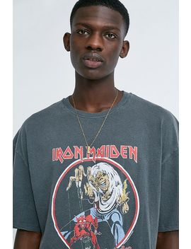Uo Iron Maiden Washed Black T Shirt by Urban Outfitters
