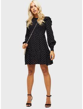 Black Spot Print Shirred Smock Dress by Miss Selfridge