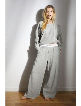 Calvin Klein Velvet Ribbed Grey Wide Leg Sweatpants by Calvin Klein