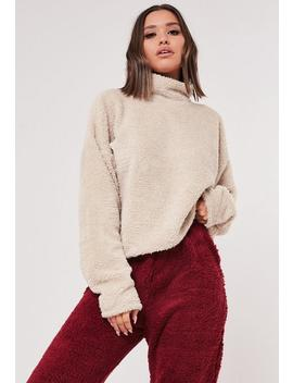 Stone Borg Teddy High Neck Sweatshirt by Missguided