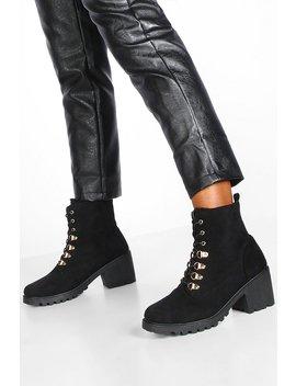 Faux Fur Lined Block Heel Hiker Boots by Boohoo