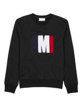 Black Logo Appliquéd Cotton Sweatshirt by Ami