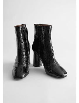 Croc Embossed Leather Heeled Boots by & Other Stories