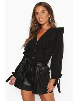 Petite Button Up Frill Blouse by Boohoo