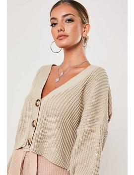 Stone Mock Horn Button Crop Cardigan by Missguided
