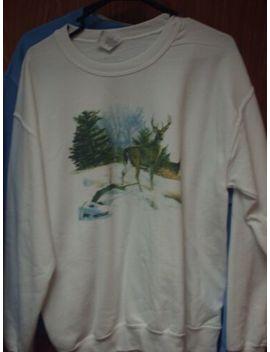 Medium Crewneck Sweatshirt White Deer In Woods Whitetail Buck by Gildan