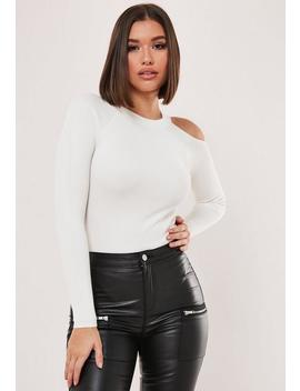 White Rib Cut Out Exposed Shoulder Knitted Bodysuit by Missguided