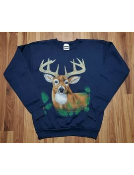 Vtg 90s Deer Buck Hunting Northern Michigan Outdoors Crewneck Sweatshirt Shirt L by Tultex