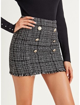 Double Button Bodycon Tweed Skirt by Shein