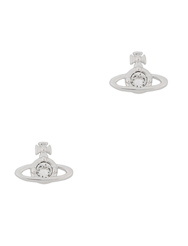 Nano Solitaire Silver Tone Orb Earrings by Vivienne Westwood