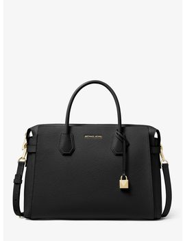 Mercer Large Pebbled Leather Belted Satchel by Michael Michael Kors