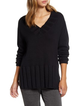 Rib Trim Tunic Sweater by Lou & Grey