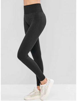 High Waist Solid Color Sports Leggings   Black M by Zaful