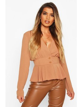 Woven Peplum Plunge Blouse by Boohoo