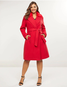Double Breasted Coat With Faux Fur Collar by Lane Bryant