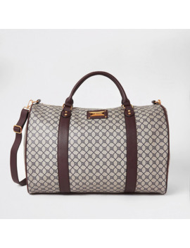 Brown Ri Monogram Weekend Travel Duffle Bag by River Island