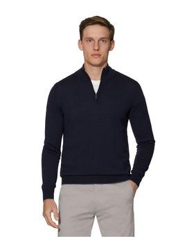 Bedford Navy Half Zip Slim Fit Merino Wool Jumper by T.M.Lewin