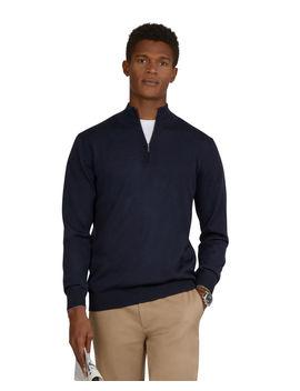 Merino Wool Navy Half Zip Slim Fit Jumper by T.M.Lewin
