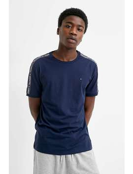 Tommy Hilfiger Taped Sleeve Navy T Shirt by Tommy Hilfiger