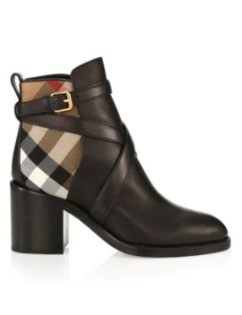 Pryle House Check Leather Ankle Boots by Burberry