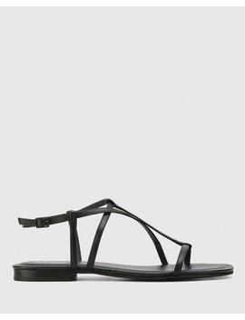 Cass Black Leather Flat Sandal by Wittner