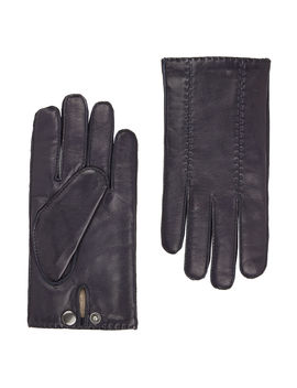 Navy Leather Gloves by T.M.Lewin