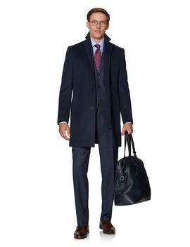 Perceval Slim Fit Overcoat In Navy Wool by T.M.Lewin
