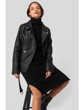 Oversized Detail Faux Leather Jacket Czarny by Donnarominaxnakd