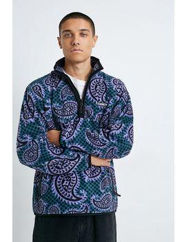 Obey Eisley Teal Paisley Fleece Quarter Zip Sweatshirt by Obey
