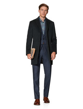 Canning Slim Fit Overcoat In Charcoal Puppytooth Cashfeel Wool by T.M.Lewin