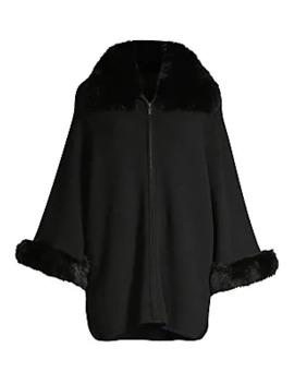 Fox Fur Cuff & Collar Cashmere Coat by Sofia Cashmere