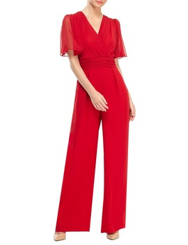 Brielle Clip Dot Chiffon Jumpsuit by Gal Meets Glam Collection