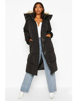 Tall Faux Fur Hood Longline Padded Coat by Boohoo