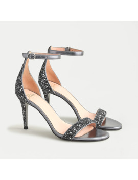 Riley Sandals In Gunmetal Glitter With Glitter Sole by J.Crew