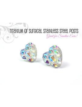 Rainbow Heart Earrings  Titanium Or Stainless Steel  Valentine Crystal Stud Earrings   Clear Rainbow Iridescent Ab Dragon Dragonscale Hearts by Etsy