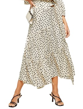 Polka Dot Tiered Midi Skirt by Topshop