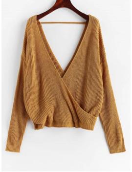 Surplice Plunging Backless Cutout Sweater   Caramel Xl by Zaful