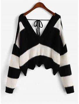 Zaful Colorblock Zig Zag Hem Double V Sweater   Multi by Zaful